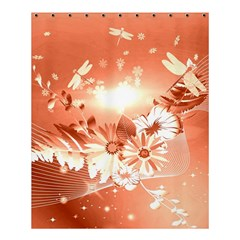 Amazing Flowers With Dragonflies Shower Curtain 60  x 72  (Medium)