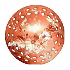 Amazing Flowers With Dragonflies Round Filigree Ornament (2side)