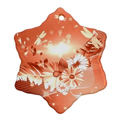 Amazing Flowers With Dragonflies Snowflake Ornament (2-Side)