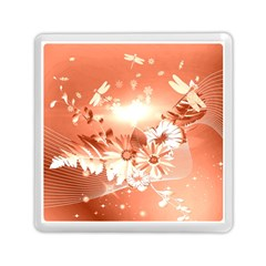 Amazing Flowers With Dragonflies Memory Card Reader (Square)