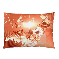 Amazing Flowers With Dragonflies Pillow Cases (Two Sides)