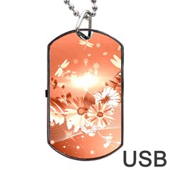 Amazing Flowers With Dragonflies Dog Tag USB Flash (One Side)