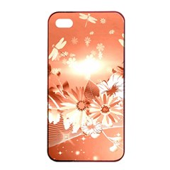 Amazing Flowers With Dragonflies Apple iPhone 4/4s Seamless Case (Black)