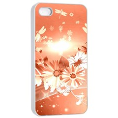 Amazing Flowers With Dragonflies Apple iPhone 4/4s Seamless Case (White)