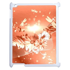 Amazing Flowers With Dragonflies Apple iPad 2 Case (White)