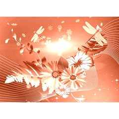 Amazing Flowers With Dragonflies Birthday Cake 3D Greeting Card (7x5)