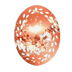 Amazing Flowers With Dragonflies Oval Filigree Ornament (2 Side)