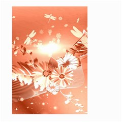 Amazing Flowers With Dragonflies Large Garden Flag (Two Sides)