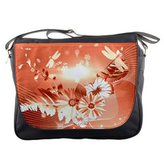 Amazing Flowers With Dragonflies Messenger Bags
