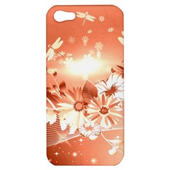 Amazing Flowers With Dragonflies Apple iPhone 5 Hardshell Case