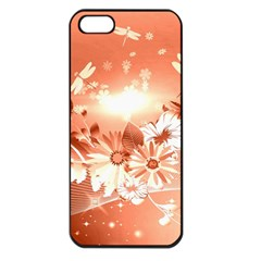 Amazing Flowers With Dragonflies Apple iPhone 5 Seamless Case (Black)