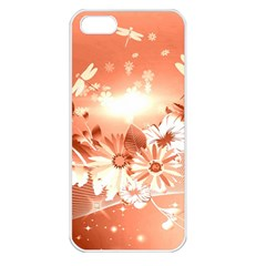 Amazing Flowers With Dragonflies Apple iPhone 5 Seamless Case (White)