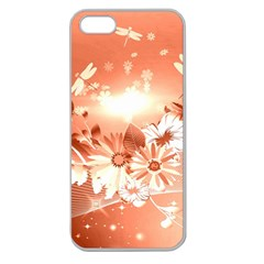 Amazing Flowers With Dragonflies Apple Seamless iPhone 5 Case (Clear)