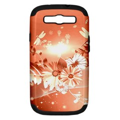 Amazing Flowers With Dragonflies Samsung Galaxy S III Hardshell Case (PC+Silicone)