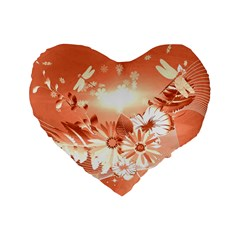 Amazing Flowers With Dragonflies Standard 16  Premium Heart Shape Cushions