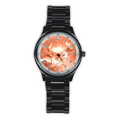 Amazing Flowers With Dragonflies Stainless Steel Round Watches