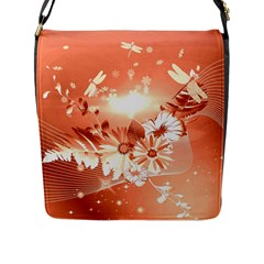 Amazing Flowers With Dragonflies Flap Messenger Bag (L)