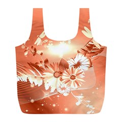 Amazing Flowers With Dragonflies Full Print Recycle Bags (L)
