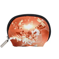 Amazing Flowers With Dragonflies Accessory Pouches (Small)