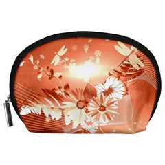 Amazing Flowers With Dragonflies Accessory Pouches (Large)