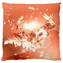 Amazing Flowers With Dragonflies Large Flano Cushion Cases (one Side)