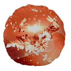 Amazing Flowers With Dragonflies Large 18  Premium Flano Round Cushions