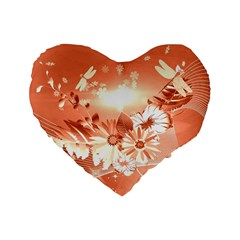 Amazing Flowers With Dragonflies Standard 16  Premium Flano Heart Shape Cushions