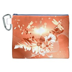 Amazing Flowers With Dragonflies Canvas Cosmetic Bag (XXL)