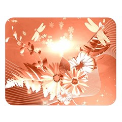 Amazing Flowers With Dragonflies Double Sided Flano Blanket (Large)