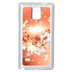 Amazing Flowers With Dragonflies Samsung Galaxy Note 4 Case (White)