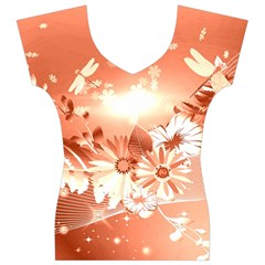 Amazing Flowers With Dragonflies Women s V-Neck Cap Sleeve Top