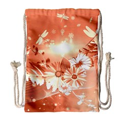 Amazing Flowers With Dragonflies Drawstring Bag (Large)