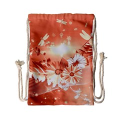 Amazing Flowers With Dragonflies Drawstring Bag (small)