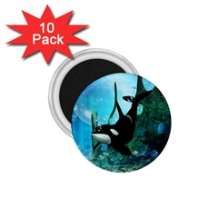 Orca Swimming In A Fantasy World 1.75  Magnets (10 pack)