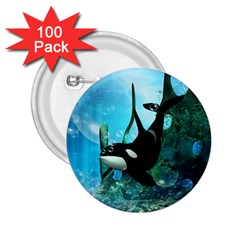 Orca Swimming In A Fantasy World 2.25  Buttons (100 pack)