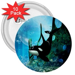 Orca Swimming In A Fantasy World 3  Buttons (10 pack)