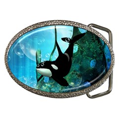 Orca Swimming In A Fantasy World Belt Buckles