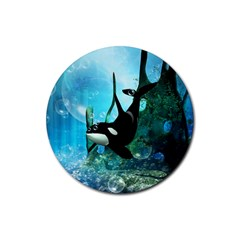 Orca Swimming In A Fantasy World Rubber Round Coaster (4 pack)