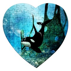 Orca Swimming In A Fantasy World Jigsaw Puzzle (Heart)