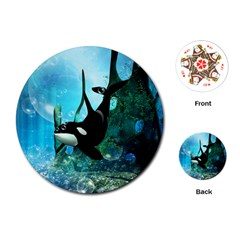 Orca Swimming In A Fantasy World Playing Cards (Round)