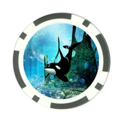 Orca Swimming In A Fantasy World Poker Chip Card Guards