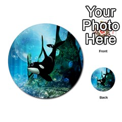 Orca Swimming In A Fantasy World Multi Purpose Cards (round)
