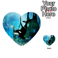 Orca Swimming In A Fantasy World Multi Purpose Cards (heart)