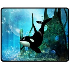 Orca Swimming In A Fantasy World Fleece Blanket (Medium)