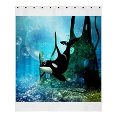 Orca Swimming In A Fantasy World Shower Curtain 60  x 72  (Medium)