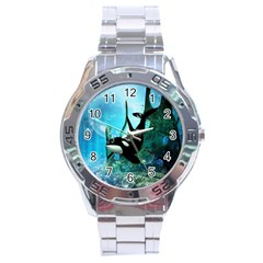 Orca Swimming In A Fantasy World Stainless Steel Men s Watch