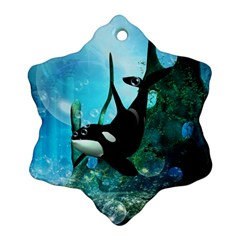 Orca Swimming In A Fantasy World Snowflake Ornament (2-Side)