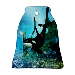 Orca Swimming In A Fantasy World Bell Ornament (2 Sides)