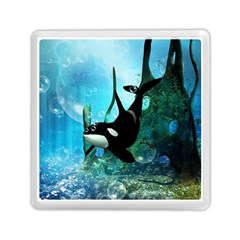 Orca Swimming In A Fantasy World Memory Card Reader (Square)