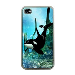 Orca Swimming In A Fantasy World Apple iPhone 4 Case (Clear)